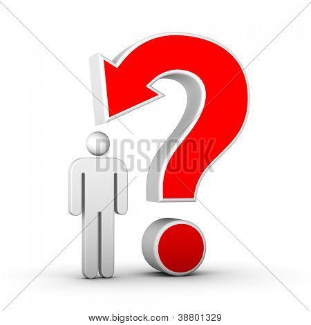 question mark with arrow and man