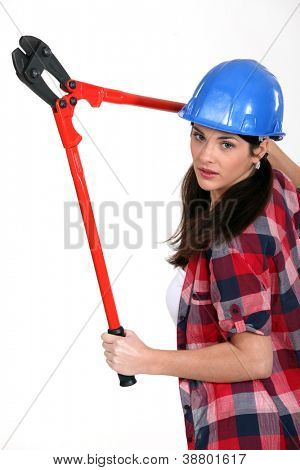 Woman with a pair of bolt cutters