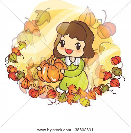 Beautiful Autumn Scene : happy smiling a lovely cute young girl with a appetizing pumpkin in romantic garden on a white background : vector illustration