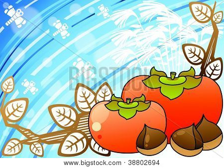 Beautiful Autumn  Scenery  - delicious sweet nuts and tasty fruits with white silhouette of leaves in romantic garden on a blue background of round pattern : vector illustration
