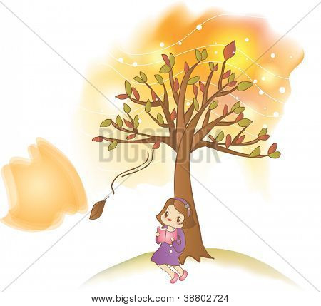 Reading a Book - relaxing a happy smiling lovely young girl with colorful autumnal leaves in romantic garden on a white background and a beautiful evening twilight : vector illustration