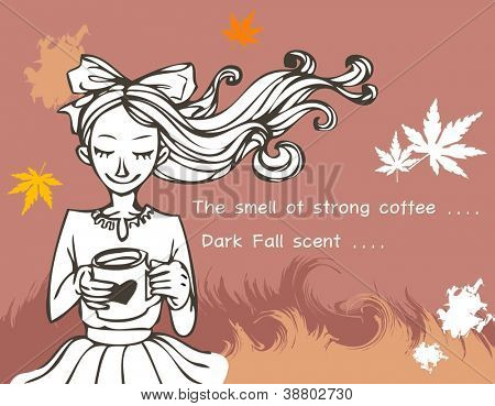 Romantic Scene and sweet dream - relaxing a happy smiling lovely young girl with hot drink and colorful autumnal leaves on a brown background and beautiful field of reeds : vector illustration