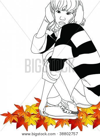 Beautiful Autumn Fashion - posing lovely young model with black and white stripes of casual style on colorful leaves, white background : vector illustration beautiful happy cute background