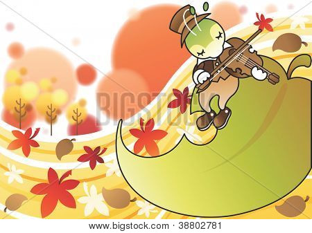 Happy and Beautiful Landscape - playing music cute young cricket on the green leaf in romantic garden with white background : vector illustration