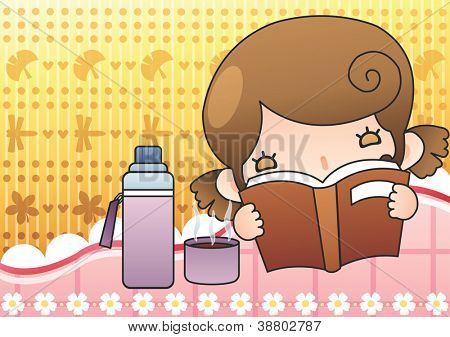 Happy Relaxing Time : reading a book with a lovely cute young girl and hot drink in her room on a bright yellow background : vector illustration