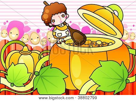 Sweet Pumpkin Soup - cooking happy mommy with a big spoon and cute rices in her kitchen on a pink background of white striped patterns : vector illustration