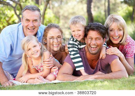 Großfamilie Gruppe zusammen im Park entspannen