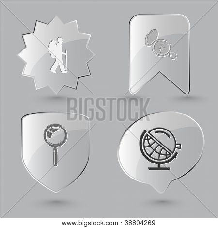 Education icon set. Magnifying glass, compass, traveller, globe and loupe. Glass buttons.