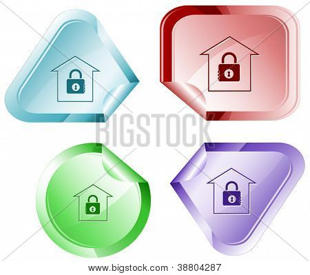 Bank. Stickers. Raster illustration. Vector version is in my portfolio.