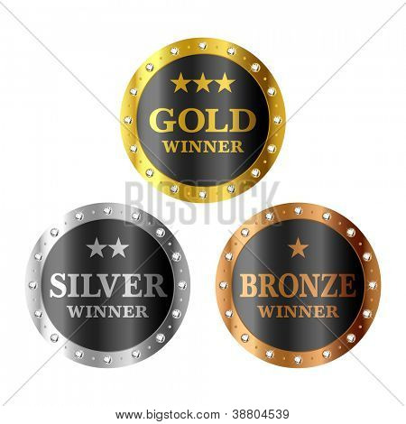 Gold, silver and bronze winner medals. Vector.