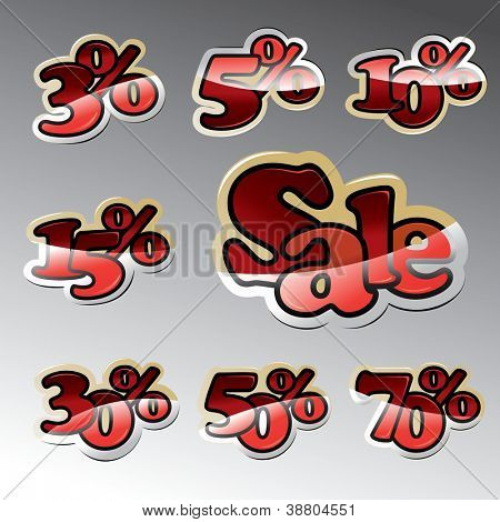 A vector template of various percent for sale.
