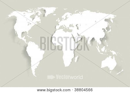Vector world illustration with smooth vector shadows and white map of the continents of the world- design element for infographics, and other global illustrations
