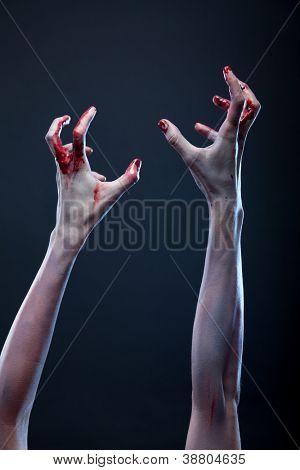 Blutigen Zombie Hände, Halloween-Thema