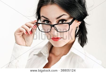Interesting portrait of sexy and confident business woman