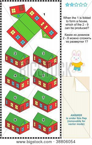 Visual math puzzle with folded houses