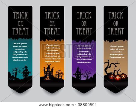 Vertical banner concept for Halloween in editable vector format