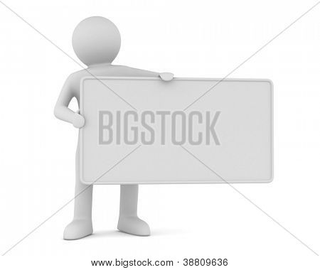 hombre sostiene el cartel en una mano. Imagen 3D