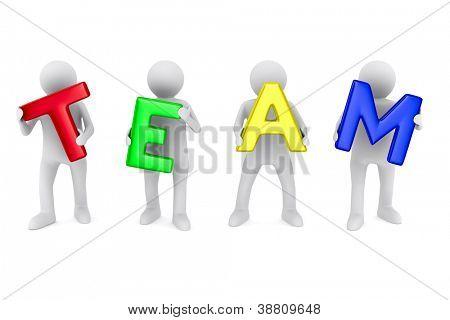 Imagen conceptual del trabajo en equipo. 3D aislados en blanco