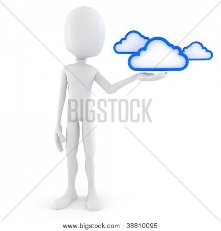 3d man, cloud backup solution, on white background
