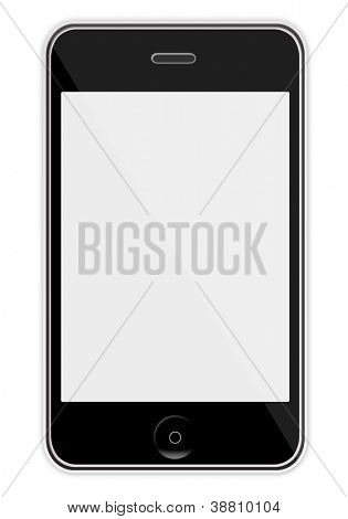 Mobile phone with blank screen like iphon isolated on white background