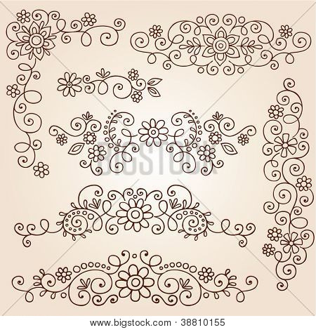 Henna Paisley Vines and Flowers Mehndi Tattoo Doodles Abstract Floral Vector Illustration Design Elements