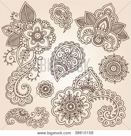 Henna Flowers and Paisley Mehndi Tattoo Doodles Set- Abstract Floral Vector Illustration Design Elements
