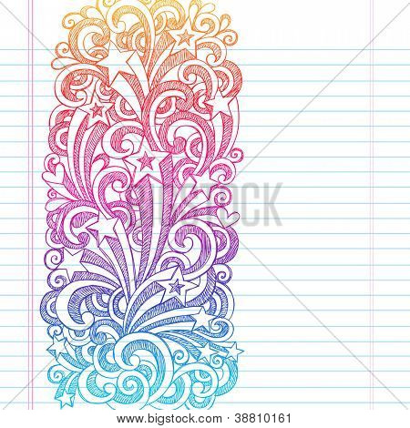 Back to School Sketchy Notebook Doodles Page Edge Border Design Shooting Stars and Swirls- Hand-Drawn Vector Illustration Design Element on Lined Sketchbook Paper Background