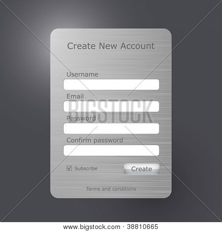 "Vector registration form with brushed metal texture. ""Create new account"" web form. Register form"