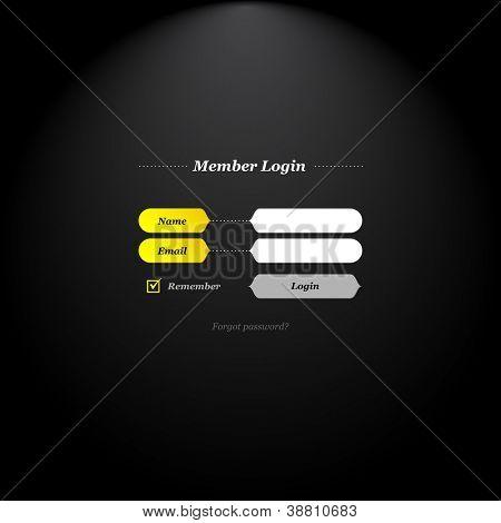 Formulário de login do membro com formas modernas de campos e botões e tipo simplesmente clássico.