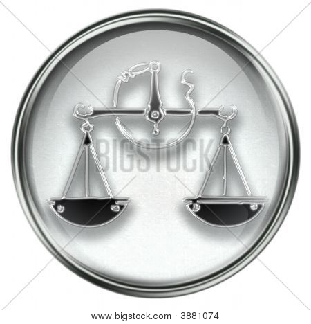 Libra Zodiac Button Icon Grey
