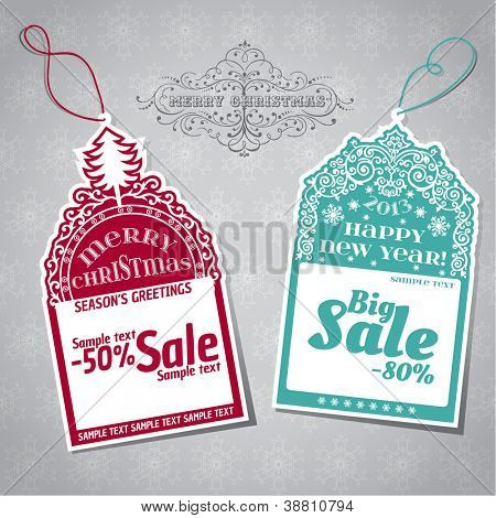 Christmas Sale Tags - for design and scrapbook - in vector