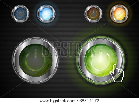 Power colourful buttons with the same illumination. Vector design eps 10