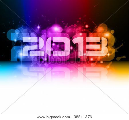 Colorful 2013 New Year Celebration Background with Glitter and Rainbow Colours