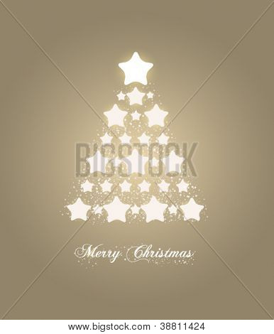 Abstract golden Christmas tree with stars, holiday card