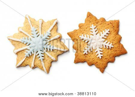 Christmas gingerbread cookies isolated on white