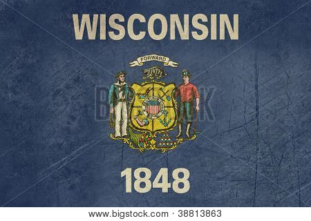 Grunge Wisconsin state flag of America, isolated on white background.