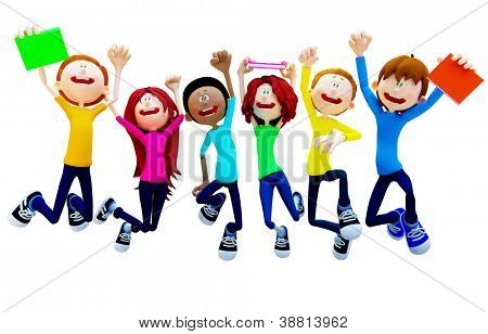 3D Happy group of students jumping - isolated over a white backgorund