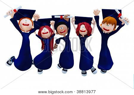 3D graduation group celebrating - isolated over a white background
