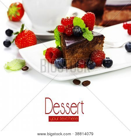 slice of delicious chocolate cake over white (with sample text)