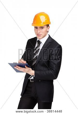 Making notes man in orange headpiece and suit, isolated on white