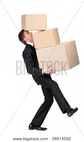 Manager keeping pile of containers, isolated on white