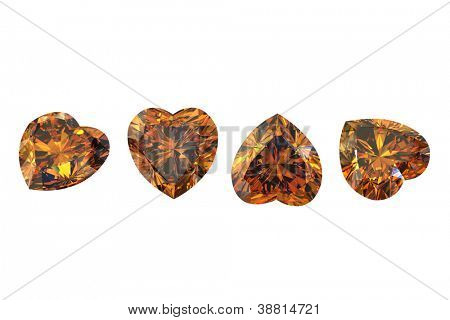 Heart shape Citrine. Collections of jewelry gems on white