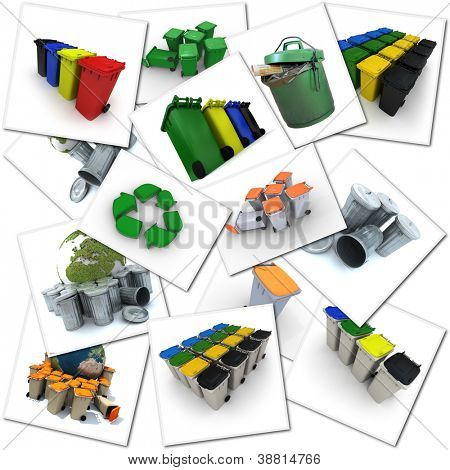 Collage with different images related to environment and waste disposal