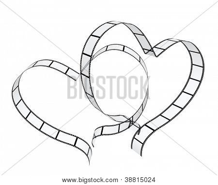Two filmstrips in hearts shape. Isolated over white