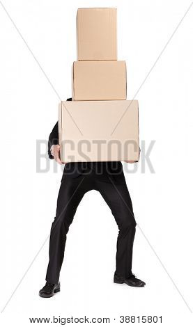Manager handing pile of pasteboard boxes, isolated on white