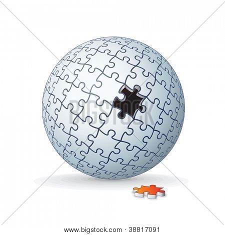 Jigsaw Puzzle Globe, Sphere Isolated on White Background