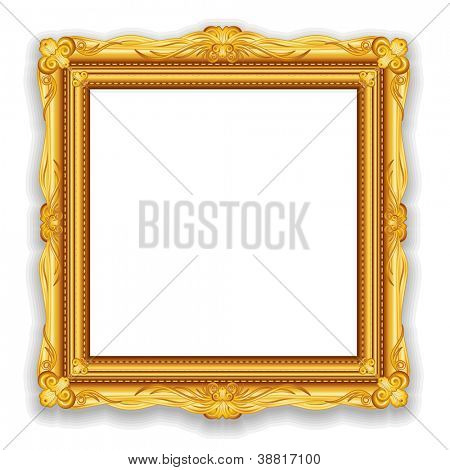 Gold Vintage Frame. Decorative Frame with Place for Text, Picture or Design