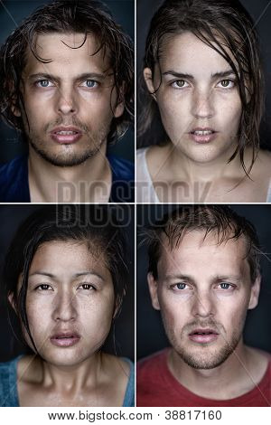 collection of fine art highly detailed portraits. wet faces with intense cold stare and shallow depth of field. mixed race group of people.
