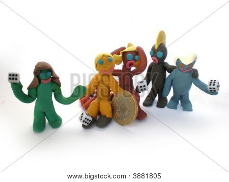 Plasticine People Figures Playing With Dice