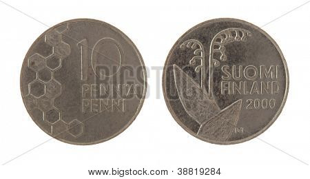 Old Finnish 10 penny coin isolated on white